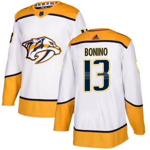 Men's Nashville Predators Nick Bonino Adidas Authentic Away Jersey - White
