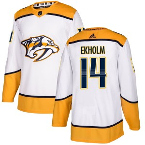 Men's Nashville Predators Mattias Ekholm Adidas Authentic Away Jersey - White
