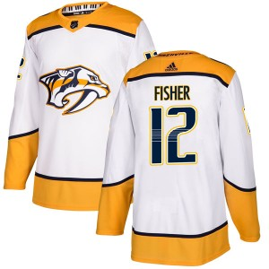 Men's Nashville Predators Mike Fisher Adidas Authentic Away Jersey - White