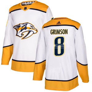 Men's Nashville Predators Stu Grimson Adidas Authentic Away Jersey - White