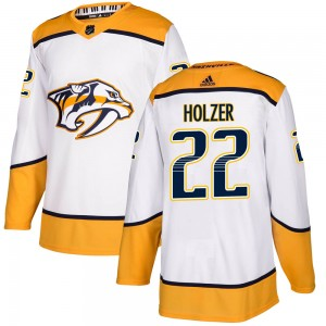 Men's Nashville Predators Korbinian Holzer Adidas Authentic ized Away Jersey - White