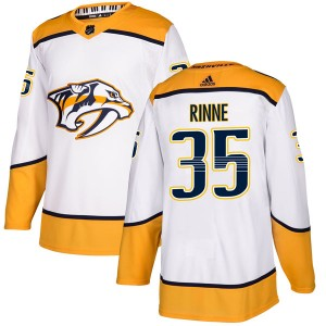 Men's Nashville Predators Pekka Rinne Adidas Authentic Away Jersey - White