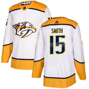 Men's Nashville Predators Craig Smith Adidas Authentic Away Jersey - White