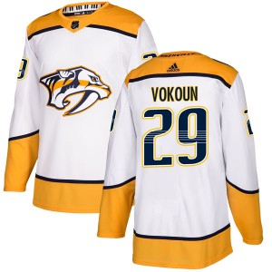 Men's Nashville Predators Tomas Vokoun Adidas Authentic Away Jersey - White