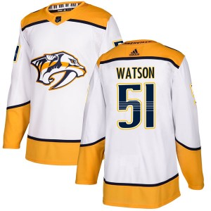 Men's Nashville Predators Austin Watson Adidas Authentic Away Jersey - White