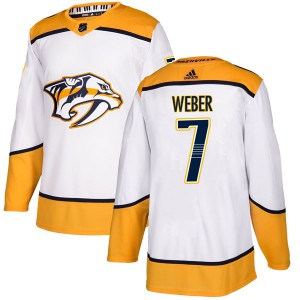 Men's Nashville Predators Yannick Weber Adidas Authentic Away Jersey - White