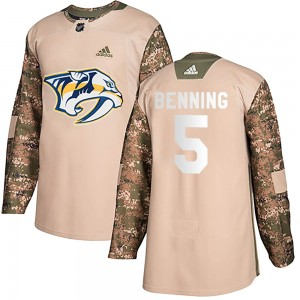 Youth Nashville Predators Matt Benning Adidas Authentic Veterans Day Practice Jersey - Camo