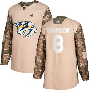 Youth Nashville Predators Stu Grimson Adidas Authentic Veterans Day Practice Jersey - Camo