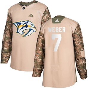 Youth Nashville Predators Yannick Weber Adidas Authentic Veterans Day Practice Jersey - Camo