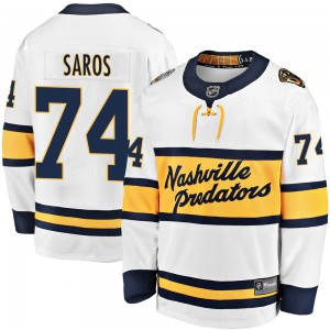 Men's Nashville Predators Juuse Saros Fanatics Branded 2020 Winter Classic Breakaway Jersey - White