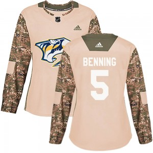 Women's Nashville Predators Matt Benning Adidas Authentic Veterans Day Practice Jersey - Camo