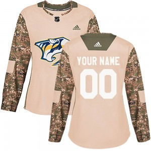 Women's Nashville Predators Custom Adidas Authentic ized Veterans Day Practice Jersey - Camo