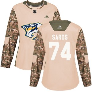 Women's Nashville Predators Juuse Saros Adidas Authentic Veterans Day Practice Jersey - Camo