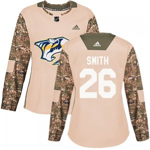 Women's Nashville Predators Cole Smith Adidas Authentic ized Veterans Day Practice Jersey - Camo
