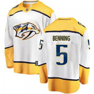 Youth Nashville Predators Matt Benning Fanatics Branded Breakaway Away Jersey - White