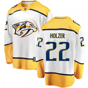 Youth Nashville Predators Korbinian Holzer Fanatics Branded ized Breakaway Away Jersey - White