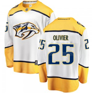 Youth Nashville Predators Mathieu Olivier Fanatics Branded Breakaway Away Jersey - White
