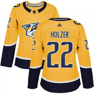 Women's Nashville Predators Korbinian Holzer Adidas Authentic ized Home Jersey - Gold