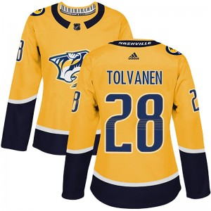 Women's Nashville Predators Eeli Tolvanen Adidas Authentic Home Jersey - Gold