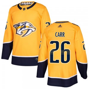 Youth Nashville Predators Daniel Carr Adidas Authentic ized Home Jersey - Gold