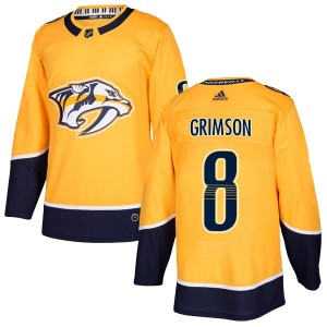 Youth Nashville Predators Stu Grimson Adidas Authentic Home Jersey - Gold