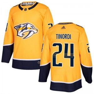 Youth Nashville Predators Jarred Tinordi Adidas Authentic Home Jersey - Gold
