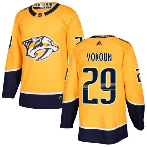 Youth Nashville Predators Tomas Vokoun Adidas Authentic Home Jersey - Gold