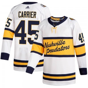 Men's Nashville Predators Alexandre Carrier Adidas Authentic ized 2020 Winter Classic Player Jersey - White
