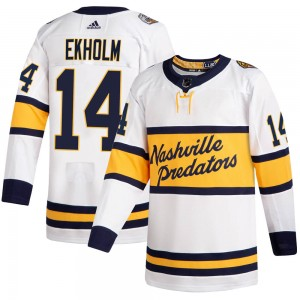 Men's Nashville Predators Mattias Ekholm Adidas Authentic 2020 Winter Classic Jersey - White