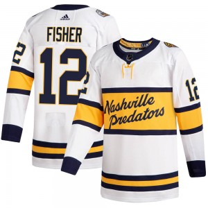 Men's Nashville Predators Mike Fisher Adidas Authentic 2020 Winter Classic Jersey - White