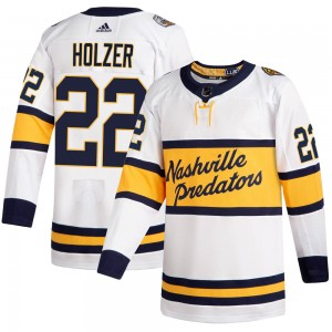Men's Nashville Predators Korbinian Holzer Adidas Authentic ized 2020 Winter Classic Player Jersey - White