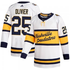Men's Nashville Predators Mathieu Olivier Adidas Authentic 2020 Winter Classic Player Jersey - White