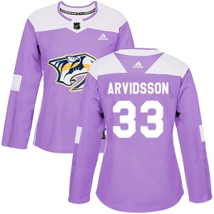 Women's Nashville Predators Viktor Arvidsson Adidas Authentic Fights Cancer Practice Jersey - Purple
