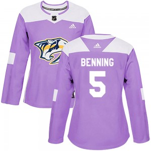 Women's Nashville Predators Matt Benning Adidas Authentic Fights Cancer Practice Jersey - Purple