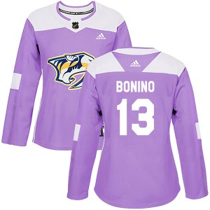 Women's Nashville Predators Nick Bonino Adidas Authentic Fights Cancer Practice Jersey - Purple