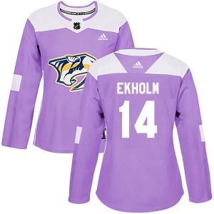 Women's Nashville Predators Mattias Ekholm Adidas Authentic Fights Cancer Practice Jersey - Purple