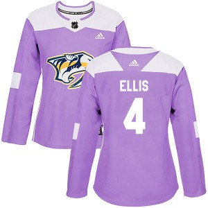 Women's Nashville Predators Ryan Ellis Adidas Authentic Fights Cancer Practice Jersey - Purple