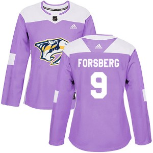 Women's Nashville Predators Filip Forsberg Adidas Authentic Fights Cancer Practice Jersey - Purple