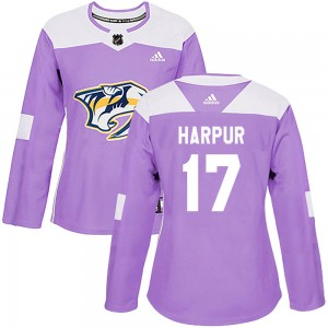 Women's Nashville Predators Ben Harpur Adidas Authentic Fights Cancer Practice Jersey - Purple