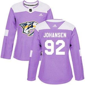 Women's Nashville Predators Ryan Johansen Adidas Authentic Fights Cancer Practice Jersey - Purple