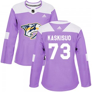 Women's Nashville Predators Kasimir Kaskisuo Adidas Authentic Fights Cancer Practice Jersey - Purple