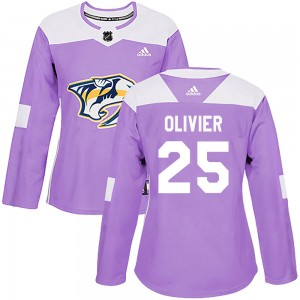 Women's Nashville Predators Mathieu Olivier Adidas Authentic Fights Cancer Practice Jersey - Purple