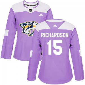 Women's Nashville Predators Brad Richardson Adidas Authentic Fights Cancer Practice Jersey - Purple
