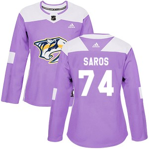 Women's Nashville Predators Juuse Saros Adidas Authentic Fights Cancer Practice Jersey - Purple