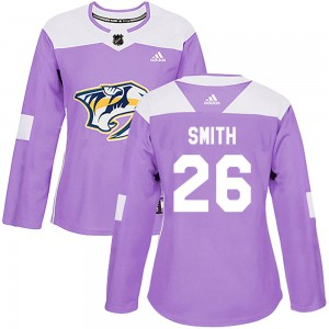 Women's Nashville Predators Cole Smith Adidas Authentic ized Fights Cancer Practice Jersey - Purple
