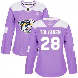 Women's Nashville Predators Eeli Tolvanen Adidas Authentic Fights Cancer Practice Jersey - Purple
