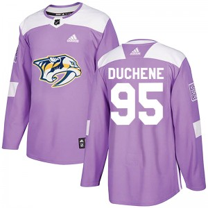 Men's Nashville Predators Matt Duchene Adidas Authentic Fights Cancer Practice Jersey - Purple