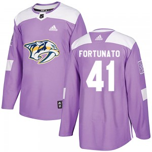 Men's Nashville Predators Brandon Fortunato Adidas Authentic Fights Cancer Practice Jersey - Purple