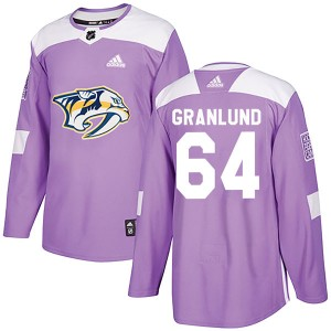 Men's Nashville Predators Mikael Granlund Adidas Authentic Fights Cancer Practice Jersey - Purple