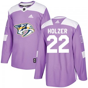 Men's Nashville Predators Korbinian Holzer Adidas Authentic ized Fights Cancer Practice Jersey - Purple